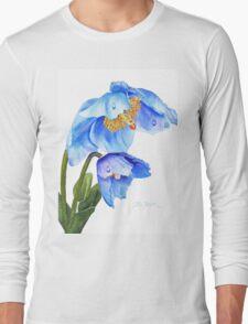 Twin Blue Poppies Long Sleeve T-Shirt
