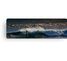Riding the Last Wave of the Day In Canvas Print