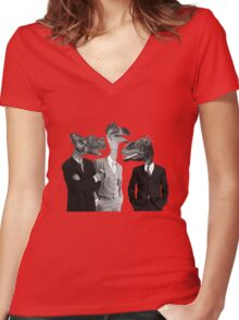 The Saurus Society - No Extinction Theory Conversation Women's Fitted V-Neck T-Shirt