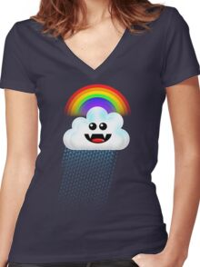RAINBOW CLOUD Women's Fitted V-Neck T-Shirt