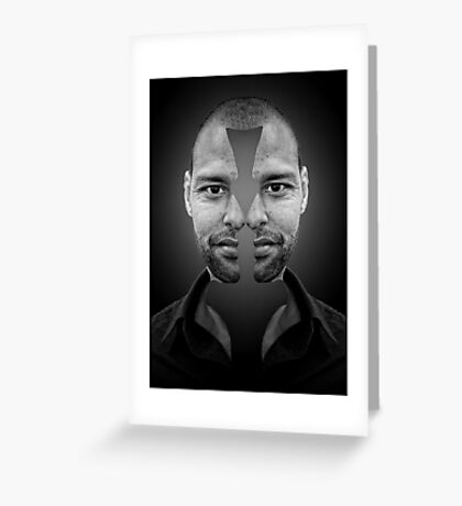 One face + Two profiles Greeting Card