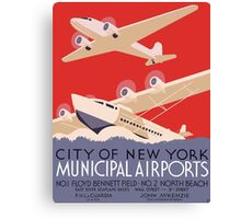 New York Municipal Airports Travel Poster (PD) Canvas Print