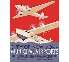 New York Municipal Airports Travel Poster (PD) Photographic Print