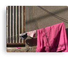 Pink sari and a pink plastic lid Canvas Print