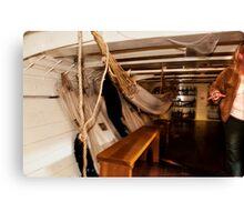 Hammocks, Below Decks on a Sailing Ship. Canvas Print