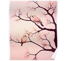 Cherry blossom birds Poster