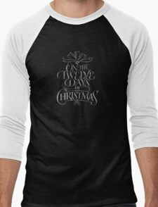 Chalkboard Hand Lettering '12 Days of Christmas' Elegant Trendy Chalk Art Men's Baseball ¾ T-Shirt