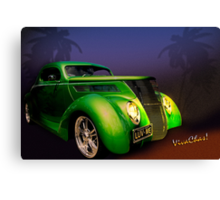 Green 37 Ford Hot Rod Decked Out for a Tropical Saint Patrick's Day in South Texas Canvas Print