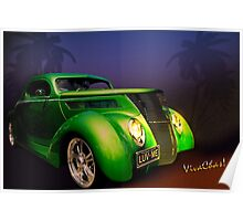 Green 37 Ford Hot Rod Decked Out for a Tropical Saint Patrick's Day in South Texas Poster