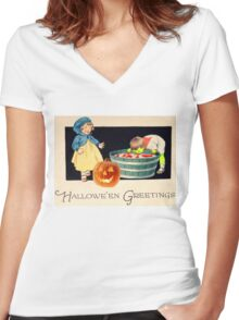 Little Zombie Tommy  (Vintage Halloween Card) Women's Fitted V-Neck T-Shirt
