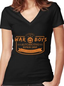 War Boys Auto Repair Women's Fitted V-Neck T-Shirt