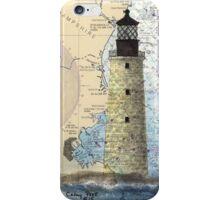 Graves Lighthouse MA Nautical Chart Cathy Peek iPhone Case/Skin