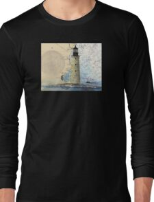 Graves Lighthouse MA Nautical Chart Cathy Peek Long Sleeve T-Shirt