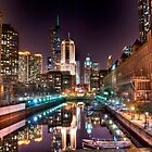 Chicago Night River by tmbolle