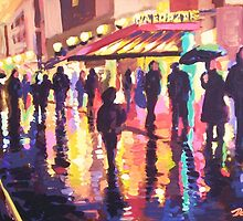 Rainy night-time sidewalk by Dan Wilcox