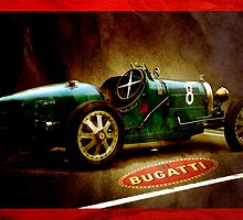 Time machine. Vintage Bugatti race car by htrdesigns