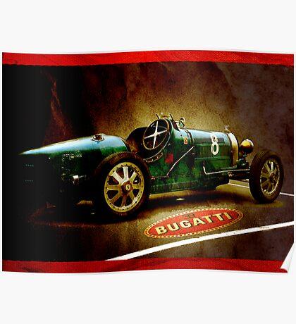 Time machine. Vintage Bugatti race car Poster