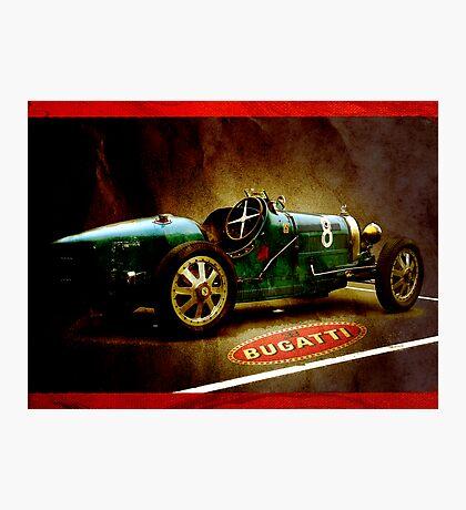 Time machine. Vintage Bugatti race car Photographic Print