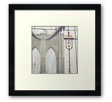 Brooklyn Bridge Summer Rain Framed Print