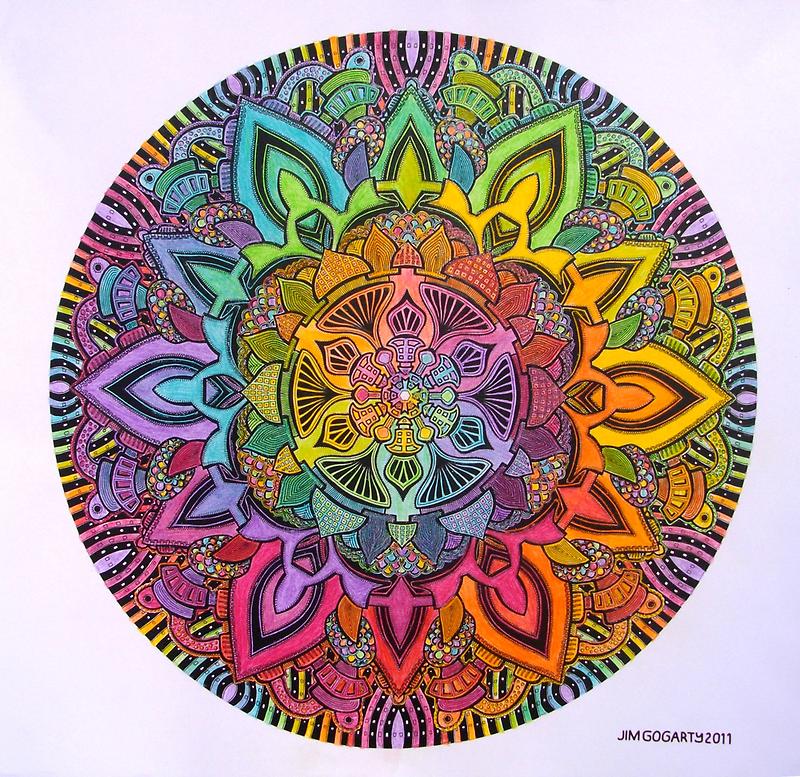 Mandala 10 drawing rainbow 1 Prints, Cards & Posters by mandala-jim