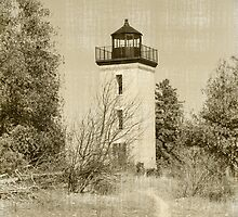stonington light house vintage style by Dawn   (Laszlo) Hess