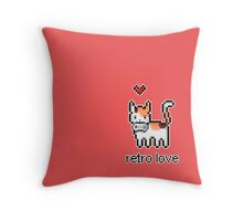 8 bit retro kitty Throw Pillow