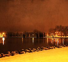 Snowy Night at the Lake by Alyce Taylor