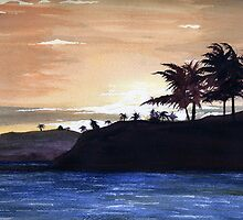 HAWAIIAN SUNSET (watercolor#5) by Dennis Knecht
