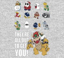 """They're All Out To Get You!"" Mario Characters Design Kids Tee"