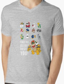 """""""They're All Out To Get You!"""" Mario Characters Design Mens V-Neck T-Shirt"""