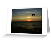 Flying into sunset Greeting Card
