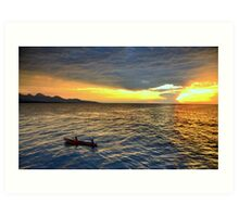 Sunset.Lake Tanganyika Art Print