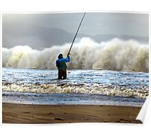 Shore Fishing Ballinskelligs Beach, Co Kerry Poster