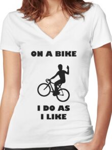 On A Bike Waving Women's Fitted V-Neck T-Shirt