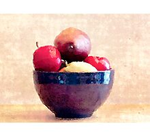Blue Bowl with Fruit Photographic Print
