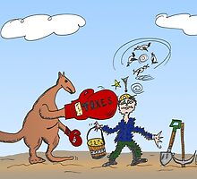 Binary Options News Cartoon AUD Boxing Kangaroo Taxes Mines by Binary-Options
