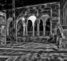 Beautiful courtyard with arches in black and white by hereswendy