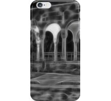 Beautiful courtyard with arches in black and white iPhone Case/Skin