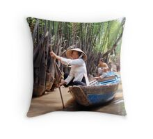Paddling the Mekong Delta Canals Throw Pillow