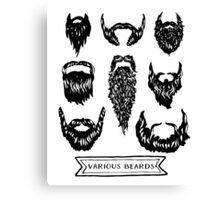 Field guide to beards - Various Beards Canvas Print