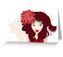 Beautiful girl with red hair Greeting Card