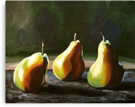 Three Pears and Their Shadows by Rachelle Dyer