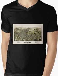 Panoramic Maps Meyersdale Pennsylvania Mens V-Neck T-Shirt