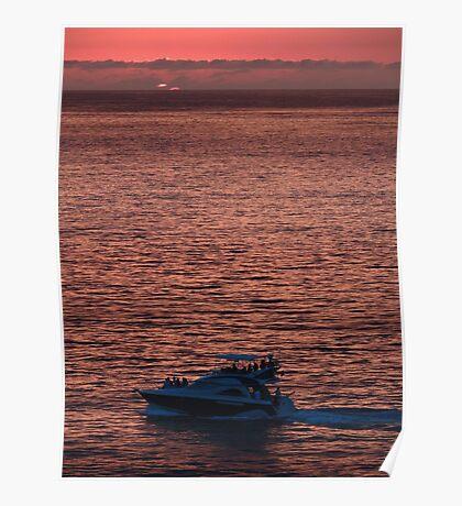 Yacht in the last Glimp of the Sun - Barco en la ultima Luz del Sol Poster
