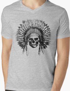 Vintage Chief Skull Design Mens V-Neck T-Shirt