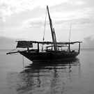 A Dhow in Zanzibar Black/White by Marie Theron