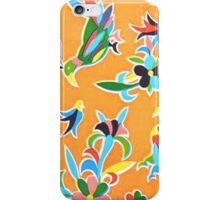 Orange folk birds and flowers iPhone Case/Skin