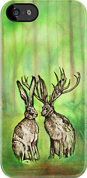 Jackalope Love iPhone Case by Carrie Jackson