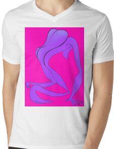 Naked Ape on Back 1b Mens V-Neck T-Shirt