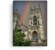 Rainbow over York Minster. Canvas Print